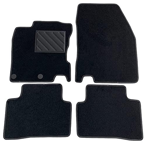 Tapis de sol pour Nissan Qashqai II J11 à partir de 2014 - sur mesure, antidérapant, talonnette en PVC, Fix d