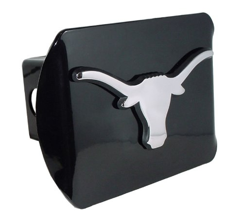 Elecktroplate Texas Longhorns Black Metal Trailer Hitch Cover with Chrome Metal Logo (for 2