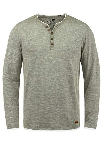 !Solid Belagos Herren Grandad Longsleeve Langarmshirt Aus 100% Baumwolle, Größe:L, Farbe:Dusty Oliv (3784)
