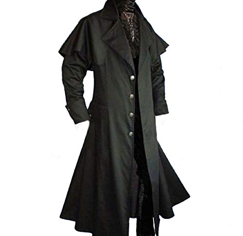 Dark Dreams Gothic Mittelalter LARP Vampir Jäger Kutscher Mantel Box Coat Belial schwarz, Farbe:schwarz, Größe:XL