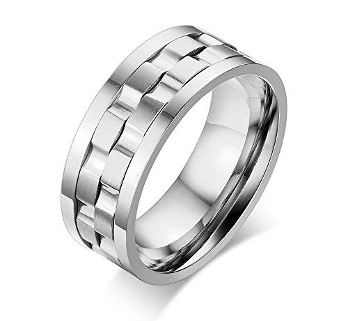 VNOX 9mm Herren Edelstahl Zwei Tone Spinner Komfort Fit Band Ring Silber