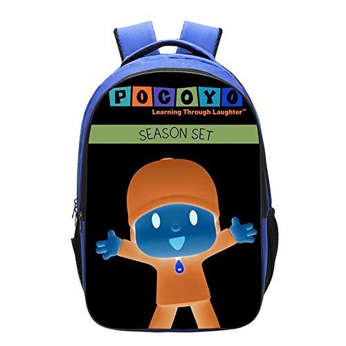 Backpack Mochila Escolar para Niños Mochilas Impresas 3D Anime Pocoyo para Niños C-16 Inches