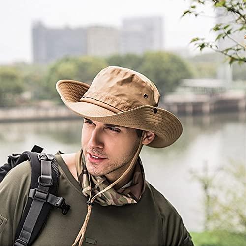 Fashion Bucket Hat Cap Fishing Summer Men Sun Hat Fisherman Hat-Khaki-One Size