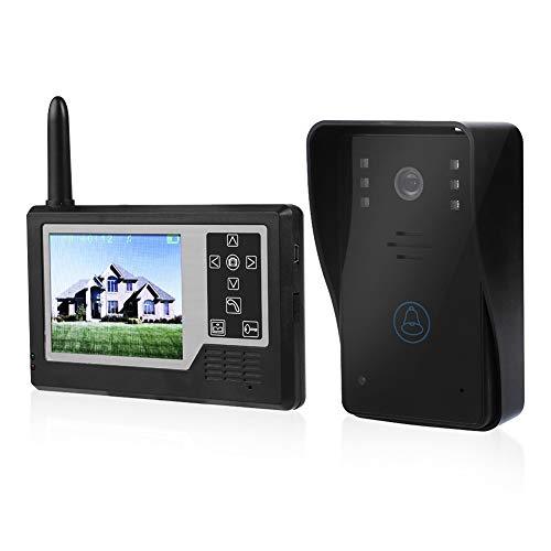 Timbre de Video, Onda electromagnética inalámbrica de 2,4 GHz Pantalla TFT Color de 3,5 Pulgadas Llamadas Manos Libres/intercomunicador bidireccional(Outdoor doorbell + 1 Indoor Display)