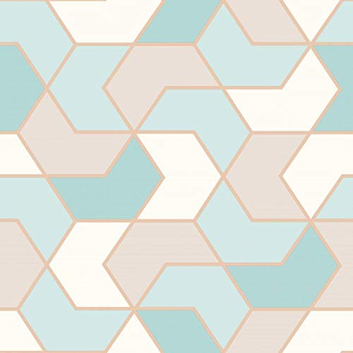 Portfolio 270327 - Papel pintado, diseño geométrico, color dorado y rosa