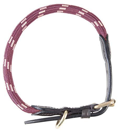 PFIFF 102827 Hundehalsband Lina, Halsband Hund Halsung, Rollschnalle Lederenden, Bordeaux-Beige, L