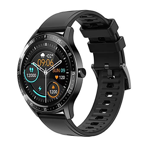 """Smart Watch for Android Phones Compatible with Samsung iPhone, Round Fitness Watch with Heart Rate/SpO2/Blood Pressure/Sleep Monitor, 1.28"""" Touch Screen IP67 Waterproof Smartwatch for Men Women(Black)"""