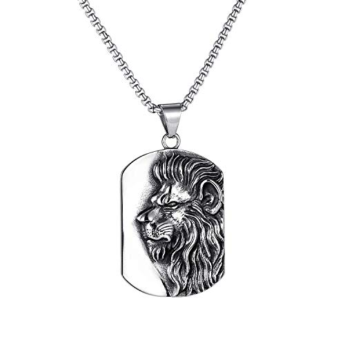 """Lion Necklace for Men, Norse Viking Lion Head Pendant Necklace with 23.6"""" Chain, Gothic Hip Hop Lion Tag Necklace, Vintage Lion Totem Amulet Necklace, Punk Animal Lion Jewelry Gift for Men Boys"""