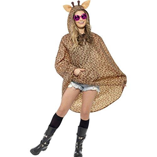 NET TOYS Giraffen Party Poncho Tier Regenponcho Partyponcho Tierkostüm Regencape Kostüm Zubehör