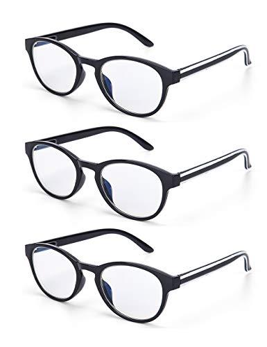 LANLANG 3er-Pack Blaulichtfilter Brille Lesebrille 1,0 für Damen Anti Eyestrain Anti UV mit schwarzem und rundem Rahmen, einschließlich 0-3,5 Dioptrien L-L009