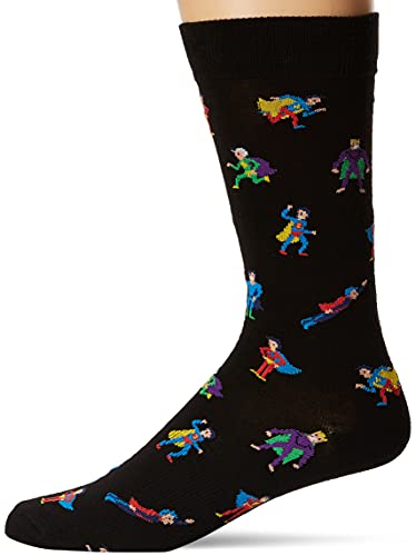 K. Bell Men's Pop Culture Novelty Crew Socks, Super Heroes (Black), Shoe...