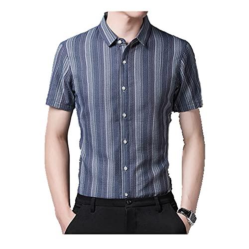 N\P Camisa de manga corta de verano a rayas de los hombres sin camisa de hierro fresco de negocios ropa casual