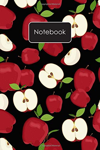 Notebook: Red Apple Slices Pattern Blank Lined Journal To...