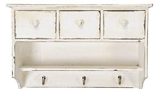 Posiwio Wandregal aus Holz mit 3 Schubladen und Hakenleiste Shabby weiß gewischte Vintage Optik