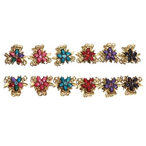 Lurrose 12Pcs Garra de Pelo de Flores de Cristal Pequeña Pinza de Pelo de Diamantes de Imitación de Colores Clip de Mandíbula de Pelo de Metal de Bronce para Mujeres
