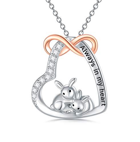 LONAGO Kaninchen Halskette 925 Sterling Silber Immer in Meinem Herzen Niedlicher Hase Anhänger Halskette Schmuck für Frauen Mutter