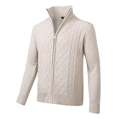 VOBOOM Mens Casual Stand Collar Cable Knitted Zip Cardigan Sweater Jacket (Beige, M)