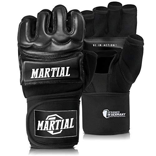 Martial Guantes MMA Profesionales – Guantes de Boxeo Calidad Profesional y Construcción Duradera – Boxeo, Entrenamiento, Saco de Boxeo, Lucha Libre, Grappling, Artes Marciales – Negro – Guantes UFC