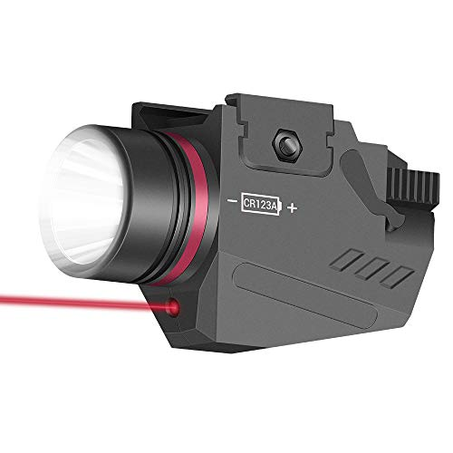 Scout Mini Flashlight Red Laser White LED Flashlight Combo with 20mm Picatinny Rail Mount Weapon Torch Light