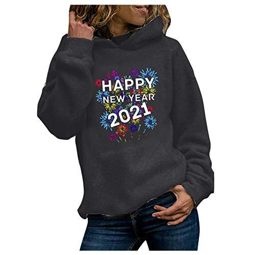 Qiuday Damen Basic Casual Hoodie Kapuzenpullover Bunt Langarm Sweatshirt Pullover,...