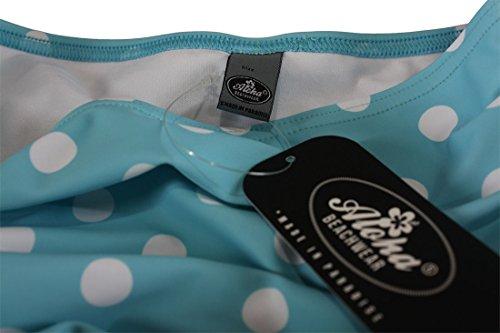 Aloha-Beachwear Rockabilly Vintage Look Neckholder Damen Badeanzug mit Polka Dots gepunktet Punkte A3039 (L / 40 / UK 14, Türkis / Weiss) - 4