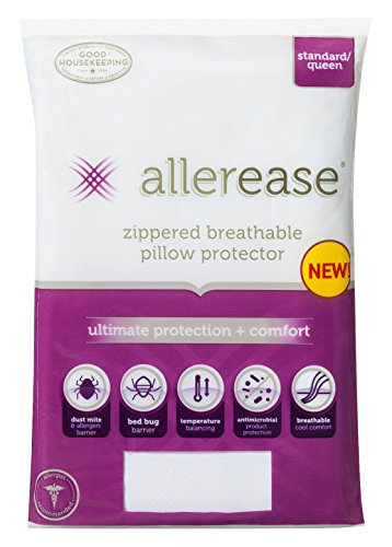 AllerEase Ultimate Protection & Comfort Temperature Balancing Pillow Protector – Zippered, Antimicrobial, Allergist Recommended Prevent Collection of Dust Mites and Allergens, King, 1 Pack