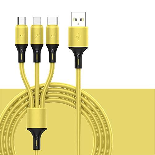 ysgbaba El Cable de Datos de uno a Tres de Color líquido es Adecuado para Android Type-C y Otros Cables de Carga y Carga rápidos de Tres en uno (Size : Yellow)