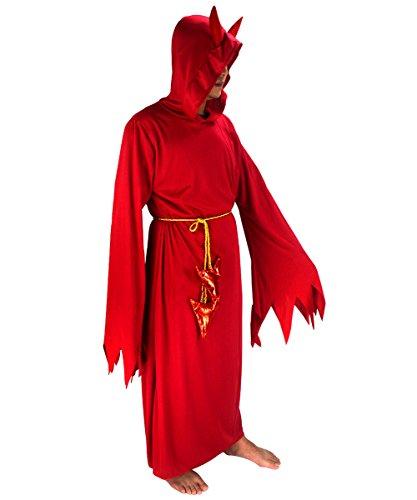 Teufelkostüm für Herren, rot, mit eckigem Bund am Ärmel, Robe mit Kapuze, für Halloween, Ostern, Kostümpartys