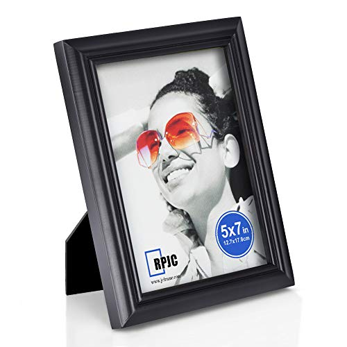 RPJC Solid Wood 5x7 inch Picture Frames and High Definition Glass for Table Top Display and Wall Mounting Photo Frame Black