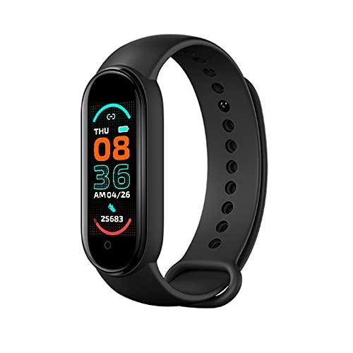 Flytise Braccialetto sportivo Movimento intelligente Monitoraggio della frequenza cardiaca e del sonno Consumo calorico Sveglia Connessione BT 0,96 pollici Nero