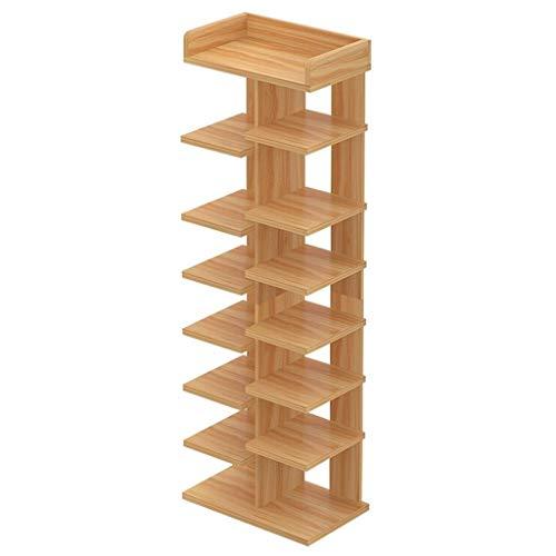 Zapatero del espacio principal de madera doble fila simple de almacenamiento Almacenamiento de 6 Capa estante zapatero Inicio de zapatos de almacenamiento ( Color : Natural , Size : 108cm high )