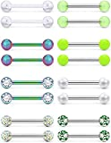 Prjndjw 8Pairs 14G Nipple Rings Surgical Steel Tongue Rings Plastic Barbell Nipplering Diamond CZ Body Piercing Jewelry Retainer for Women Men 14mm Length Size Rainbow