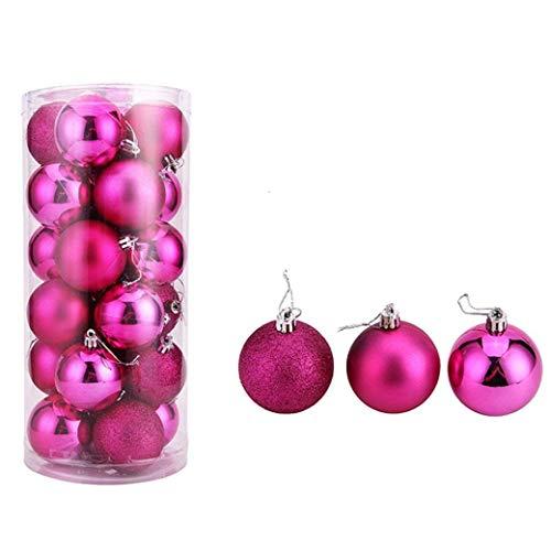 Hunpta 6 cm 24PC Plastik-Weihnachtsbaum Dekoration Weihnachtskugel