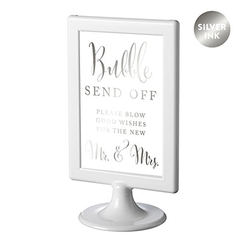 Andaz Press Framed Wedding Party Signs, Metallic Silver Ink, 4x6-inch, Please Take A Tissue for Your Tears of Joy, Laughter and Happily Ever After, Double-Sided, 1-Pack, Colored Decorations