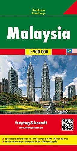 Malaysia, Autokarte 1:900.000: Touristische Informationen. Entfernungen in km. Nationalparks (freytag & berndt Auto +...