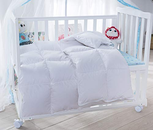 Lightweight Winter Baby/Toddler White Goose Down Comforter Duvet Insert for Crib Bedding 100% Cotton Shell Hypoallergenic Down Proof (White, L)