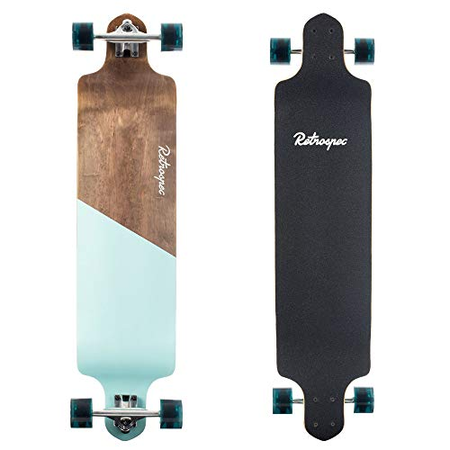 Retrospec Tidal 41-inch Drop-Down Longboard Skateboard Complete 41-Inch; Steel Blue