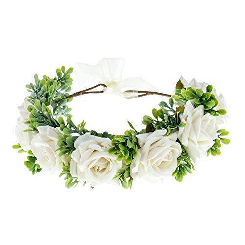 Ever Fairy Corona de rosas para mujer, corona de flores, corona de flores, corona bohemia, corona de pelo, guirnalda para niñas, festival Blanco Talla única