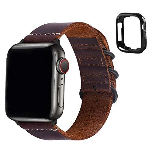 WYYHYPY Banda de manzana 44mm 42mm, reloj de apple Strap de cuero para iWatch Series SE 6/5/4/3/2/1,44mm 42mm marrón + conector negro y estuche protector correa de reloj
