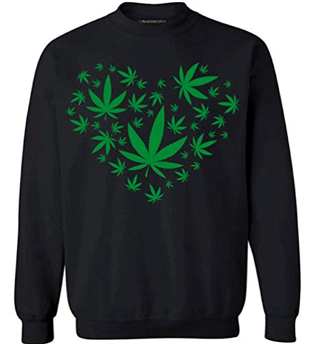 Awkward Styles I Love Marijuana Sweater for Women Men Weed Leaf 420 Sweatshirt Funny Stoner Adult Unisex Crewneck Top Black M