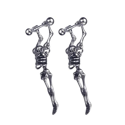 EXCEART 2 Piezas Pendientes de Aro con Colgante de Calavera de Acero de Titanio Punk Gótico Esqueleto Hueso Espárrago Joyería para Hombres Mujeres Regalo