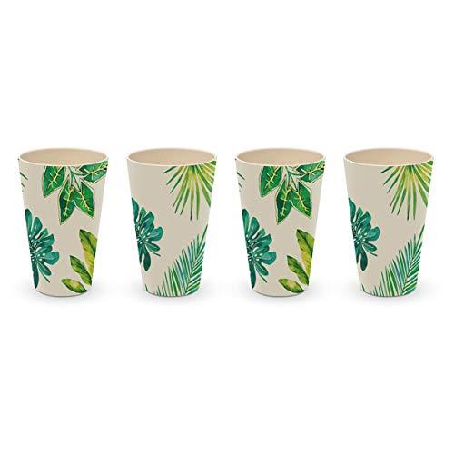 Juego de 4 vasos de bambú con diseño de hojas de palmeras y monstera (0,4 L)