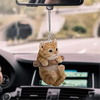 Flying Cat/Dog Pendant for Car Car Rearview Mirror Pendant Ornaments Car Accessories Car Charm Cute Cat Hanging Ornament Gift for Car Interior Decor Creative Indoor Decoration  Multicolor A