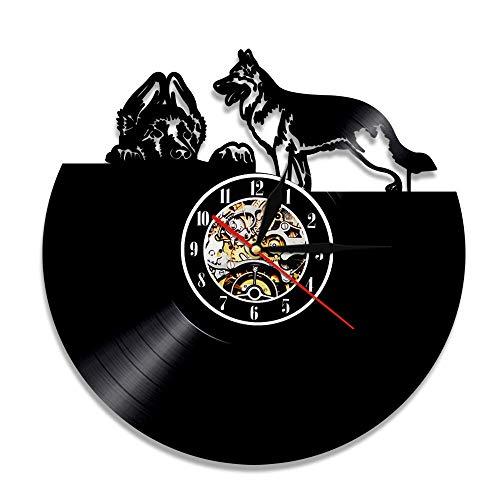 Eld 30cm Alemania Pastor Arte Decoración Reloj 3D Animal Reloj de Pared Único Perro Cachorro Reloj de Vinilo Reloj de Arte Reloj para Amantes de Las Mascotas Música Arte Registro Relojes de Pared