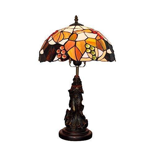 BINGFANG-W dormitorio 12 pulgadas lámpara de escritorio estadounidense Brown uva Sala Comedor Dormitorio de noche Contador interior de la barra ligera de cristal coloreado de belleza Lámparas Lámparas