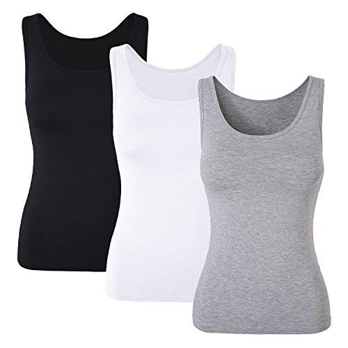 DYLH Damen BH-Hemd Unterhemd Basic Tank Tops 3er Pack Mix A XLarge