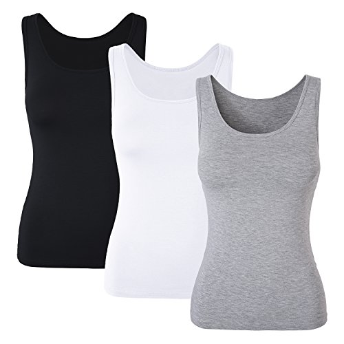 DYLH Damen BH-Hemd Unterhemd Basic Tank Tops 3er Pack Mix A Medium