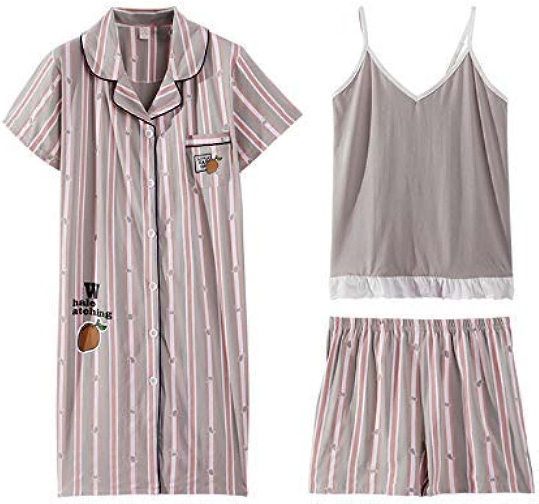 FERFERFERWON Nachthemd Nachthemd weibliche Sommer Baumwolle kurzrmelige Schlinge dreiteiligen Anzug weibliche Gre gestreiften Bademantel Hausdienst Frühjahr und Sommer (Gre  L)