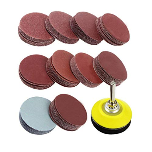 Sanding Disc Pads, JETAINE 100pcs 2 inch Sanding Discs Pad Sheets Kit Sandpaper Hook and Loop Assorted for Drill Grinder Rotary Tools with Backer Plate 1/4' Shank Sander
