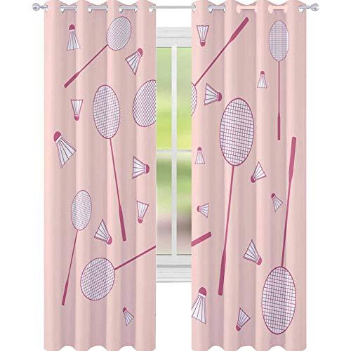 YUAZHOQI Cortinas opacas para oscurecimiento de habitación con una bonita imagen de coloridas raquetas de bádminton y volantes para salón o dormitorio, cortinas para ventana de 132 x 160 cm